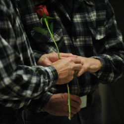 James Beckett (left) puts a wedding ring on the finger of Ken Tidd while getting married at Bangor City Hall, Dec. 29, 2012. Beckett and Tidd were the first couple to exchange vows in Bangor after voters approved gay marriage in November of 2012.