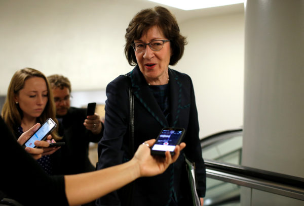 Senator Susan Collins (R-ME) speaks to reporters on her way to the U.S. Capitol in Washington, U.S., May 23, 2017. Collins is one of four Senate Republicans who said they would vote against even a procedural motion to start debate on the Senate bill.