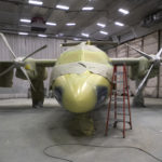 An aircraft in the painting hangar at C&L Aviation in Bangor.