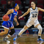 University of Maine's Blanca Millan (right) defends against University of Massachusetts Lowell's Markayla Sherman during their basketball game at the Cross Insurance Center in Bangor in February.