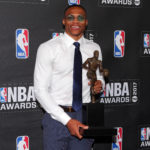 Oklahoma City Thunder player Russell Westbrook poses for photos with his 2017 NBA most valuable player award during the 2017 NBA Awards on Monday night at Basketball City at Pier 36 in New York.