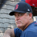 Boston Red Sox manager John Farrell (53) watches batting practice before the game against the Kansas City Royals at Kauffman Stadium.
