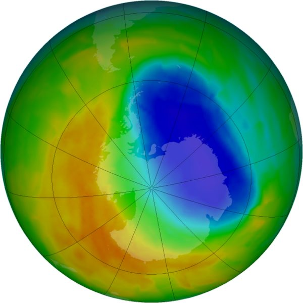 A false-color view of total ozone over the Antarctic pole is seen in this NASA handout image released Oct. 24, 2012.