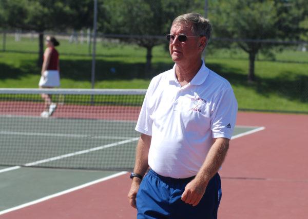 Ellsworth tennis coach Brian Higgins celebrates his 600th victory.