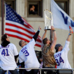 Chicago Cubs celebrate winning the team's first World Series in 108 years during a victory parade in Chicago, Illinois, Nov. 4, 2016.