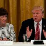 Maine Republican Senator Susan Collins listens as U.S. President Donald Trump speaks during a meeting with Senate Republicans about healthcare in the East Room of the White House in Washington, U.S., June 27, 2017.