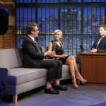 "Joe Scarborough and Mika Brzezinski during an interview with host Seth Meyers on ""Late Night With Seth Meyers"" on March 28, 2017."