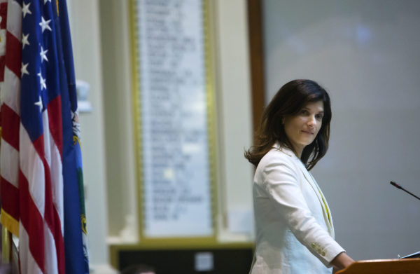 Speaker of the Maine House of Representatives Sara Gideon listens while the House of Representatives debate at the Maine State House in Augusta. Lawmakers are scurrying to avoid a state government shutdown.