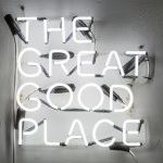 Brandon Alvendia, The Great Good Place install shot, exhibit organized by Brandon (l-r The Franklin, Ron Ewert and friends, Trunk Show and Scott Wolniak, filmfront) — The Great Good Place, Neon, 2015