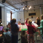 """""""Raise your hand if you can tell me..."""" Here's a shot of the first day of Eastport Strings Summer Intensive at Eastport Arts Center. The group of string players of all ages will present a public concert on Thursday, June 22."""