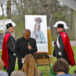 Father Mike Seavey speaks as Sir Knights Roy and Beaulieu honor Our Blessed Lady