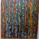 """Linden, Leatrice, """"Into the Woods,"""" oil on wood, 72"""" x 67"""""""