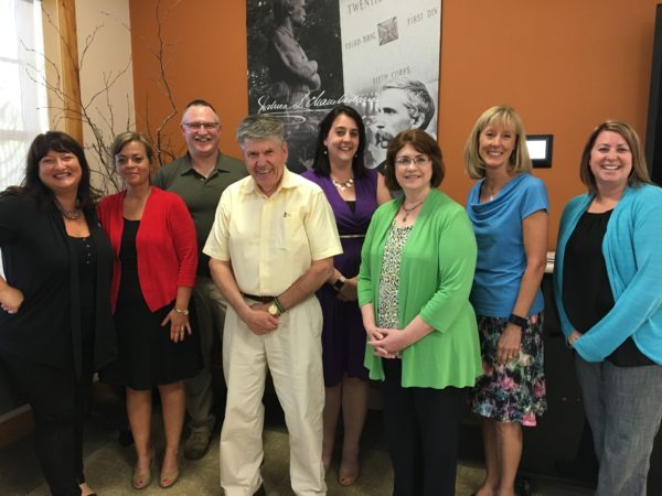 The Board of Directors of the Northern and Eastern Maine Chapter of the American Red Cross at its annual meeting on June 14, 2017. From left to right: incoming Vice Chair Lara Clark, Jennifer Oliveria, Col. Eric Johns, incoming Chair Gordon Stitham, Jess Beaulieu, Secretary Darlene MacLeod, Sue Reid and outgoing Chair Jill Saucier. (Not pictured: Bangor Fire Chief Thomas Higgins and Bill Miller.)