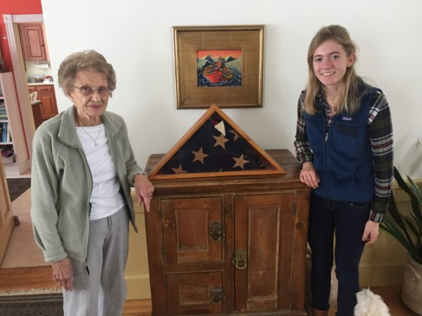 READFIELD, Maine -- Peg Bailey of Bath, 2nd Lt. Carl Alexander's sister, stands with Madison Taylor, a Maranacook High School junior who was selected to research Alexander as part of a national program to recognize soldiers who died in the Allied invasion of France during World War II.