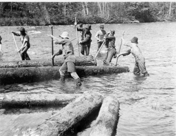 West Branch log drive, ca. 1900, courtesy Patten Lumbermen's Museum.