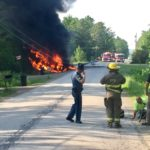 First responders at the scene of a fiery truck crash in Carmel Tuesday morning.