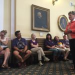 Sen. Joyce Maker, R-Calais, talks to state workers in the Maine Senate chamber on Sunday.