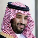 Saudi Arabia's Crown Prince Mohammed bin Salman reacts upon his arrival at the Elysee Palace in Paris, June 24, 2015.