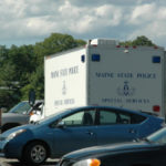 A Maine State Police Special Services truck at LincolnHealth's Miles Campus in Damariscotta on Sunday. The unit responded to investigate a suspicious package found outside the hospital.