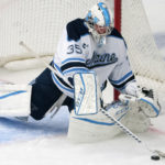 University of Maine's Rob McGovern makes a save from Rensselaer Polytechnic Institute during their hockey game at Alfond Arena in Orono, Oct. 7, 2016.
