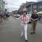 Sen. Susan Collins marches down Water Street during Eastport's Fourth of July parade on Tuesday.