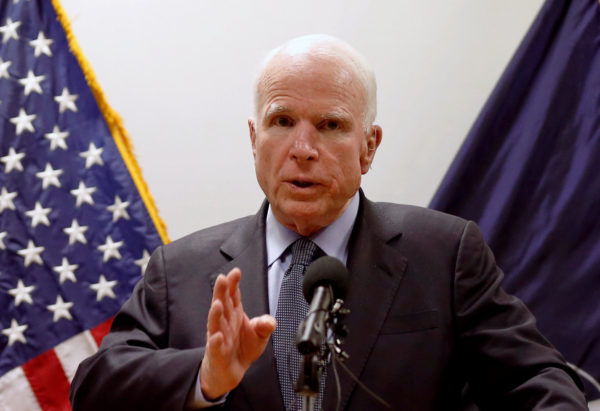 U.S. Sen. John McCain speaks during a news conference in Kabul, Afghanistan, July 4, 2017.