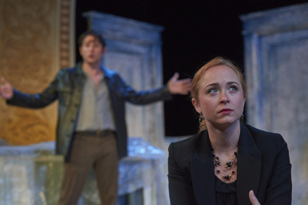 Lina (Meghan Leathers) listens as her childhood friend Pip (Brad Wilson) rants about the state of their lives in &quotThree Days of Rain&quot at Theatre at Monmouth.