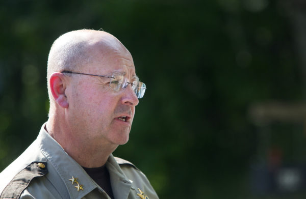 Sheriff Dale Lancaster addresses the media during a press conference on Russell Road in Madison.