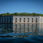 Fort Gorges, named for an early English proprietor of the area, sits on Hog Island Ledge in Portland Harbor. Begun in 1858, it was finished in 1864 but never garrisoned.