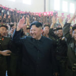 North Korean leader Kim Jong Un reacts with scientists and technicians of the DPRK Academy of Defence Science after the test-launch of the intercontinental ballistic missile Hwasong-14 in this undated photo released by North Korea's Korean Central News Agency (KCNA) in Pyongyang July 5, 2017.