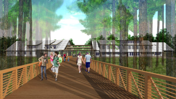 Illustrations provided by Coastal Maine Botanical Gardens show new gardens, a pond and a bog which will be installed on the site of an existing parking lot as part of a $30 million expansion project that broke ground in January.