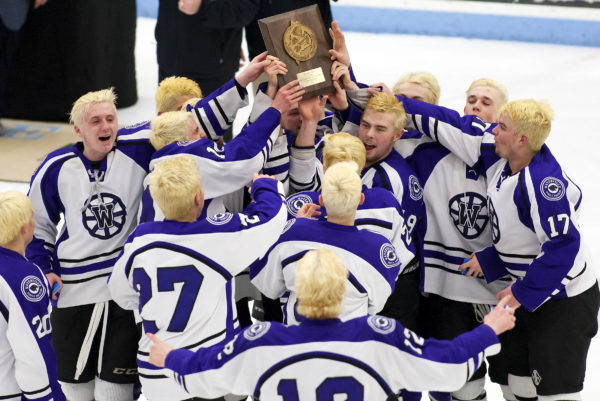 Members of the Waterville High School Hockey team celebrate after defeating Old Town-Orono for the Class B North championship at Alfond Arena in Orono in March. Waterville is merging with Winslow to form a co-op team.