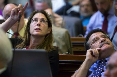 Rep. Deb Sanderson, R-Chelsea (left), counts the votes on a vote board while Rep. Wayne Parry, R-Arundel, looks on during the House of Representatives vote on the state budget at the Maine State House in Augusta.