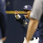 Tampa Bay Rays center fielder Mallex Smith (0) points and celebrates as they beat the Boston Red Sox at Tropicana Field on Saturday.
