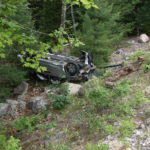 Four adults and three children escaped serious injury Friday when the van they were riding on took a 30-foot plunge down an embankment off Park Loop Road in Acadia National Park Friday afternoon, a park spokesman said Saturday. The crash happened about half a mile south of the entrance to the Cadillac Mountain Road shortly after noon, when a Honda Odyssey traveling north veered across the oncoming lane, hit a coping stone and then left the roadway.