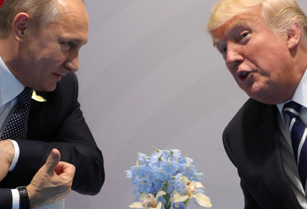 Russia's President Vladimir Putin (left) and President Donald Trump talk during a bilateral meeting on the sidelines of the G20 summit in Hamburg, Germany.