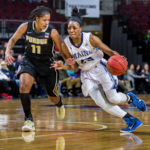 Tanesha Sutton (right), pictured during a November 2016 game in Bangor, will be among the few upperclassmen who will lead the University of Maine women's basketball team into a daunting non-conference schedule during the 2017-2018 season.