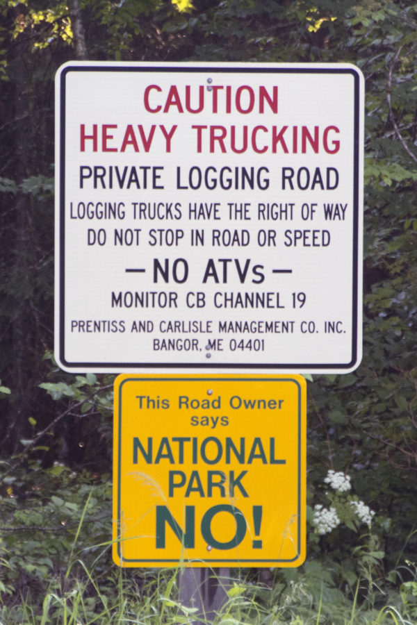 Loggers and landowners are working with National Park Service officials to limit crashes on the roads near the Katahdin Woods and Waters National Monument by posting signs on private roads.