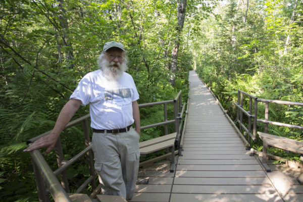 Jim Bird, director of the Orono Bog Boardwalk since 2008, stands near one of the interpretive displays and benches on the boardwalk on July 5, in the Rolland F. Perry City Forest in Bangor.