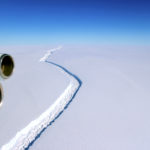 A rift across the Larsen C Ice Shelf that had grown longer and deeper is seen during an airborne surveys of changes in polar ice over the Antarctic Peninsula from NASA.