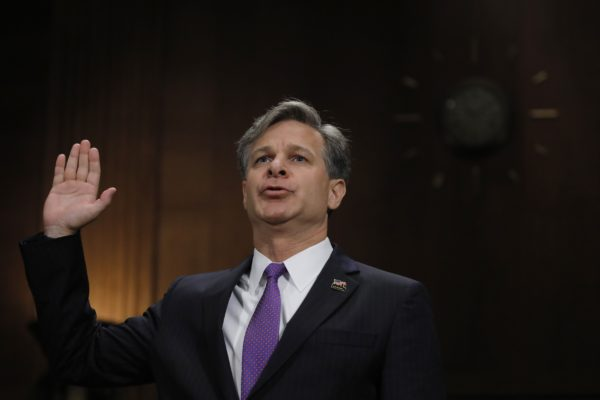 Christopher Wray is sworn in prior to testifying before a Senate Judiciary Committee confirmation hearing on his nomination to be the next FBI director on Capitol Hill in Washington, July 12, 2017.