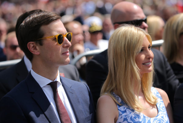 Ivanka Trump and White House senior advisor Jared Kushner listen to U.S. President Donald Trump's public speech at Krasinski Square, in Warsaw, Poland July 6, 2017.