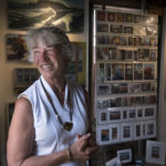 Artist Jerri Finch in her gallery in Belfast. Finch is a painter with a long history in midcoast Maine, but before arriving there she worked a wide variety of jobs all over the country.
