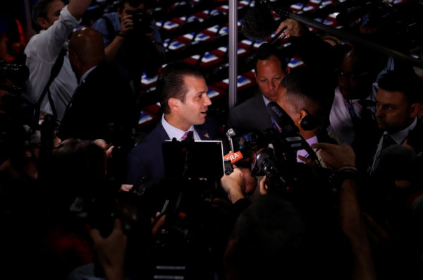Donald Trump Jr. gives a television interview at the 2016 Republican National Convention in Cleveland, Ohio July 19, 2016.