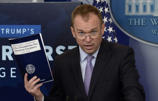 Office of Management and Budget Director Mick Mulvaney speaks during a press briefing about  President Donald Trump's 2018 budget proposal that includes boosts for military and spending cuts on safety-net programs for poor at the White House in Washington, D.C., May 23, 2017.