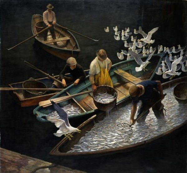 Andrew Wyeth's father Newell Convers Wyeth's masterpiece &quotDark Harbor Fishermen&quot is on view at the Portland Museum of Art.