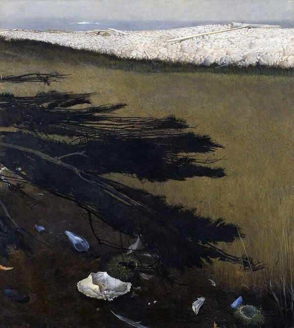This Andrew Wyeth &quotRaven's Grove&quot is on view at the Portland Museum of Art.
