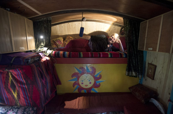 Pat Guerard of Portland, Connecticut, has spent the past year touring the country in her handcrafted &quotGypsy caravan&quot camper she named Wandering Rose. She made a stop to visit a friend on Verona Island in Maine. The caravan was