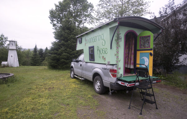 Pat Guerard of Portland, Connecticut, has spent the past year touring the country in her hand-crafted &quotGypsy caravan&quot she named Wandering Rose. The caravan was constructed by John Kaznecki of South Thomaston.