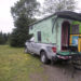 """Pat Guerard of Portland, Connecticut, has spent the past year touring the country in her hand-crafted """"Gypsy caravan"""" she named Wandering Rose. The caravan was constructed by John Kaznecki of South Thomaston."""
